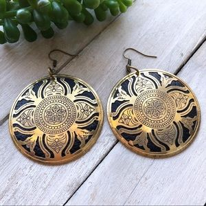 Black and Gold Tibetan Medallion Earrings